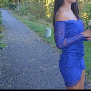 Nasty Gal Blue Long Sleeve Lace Dress